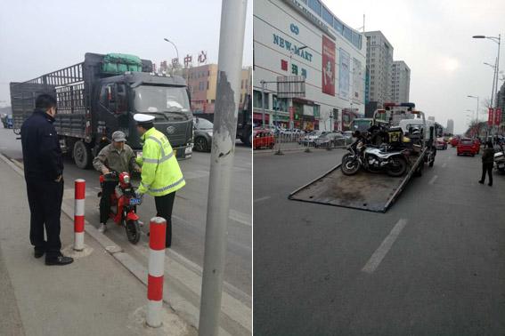 于洪分局开展电动自行车交通违法专项整治行动
